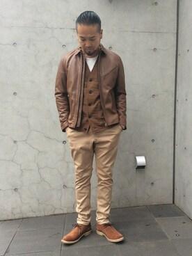 DUFFER 渋谷店|KOBAYASHIさんの「COTTON STRETCH TAPERED SKINNY TROUSERS:テーパードスキニーパンツ(The DUFFER of ST.GEORGE)」を使ったコーディネート