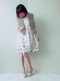 eikoさんの「高級感溢れるパーティーアイテム☆エコファーラムティペット(Rose Tiara ローズティアラ)」を使ったコーディネート