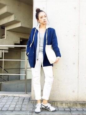 石田 美奈子さんの「rianaのニットジャケット(riana)」を使ったコーディネート