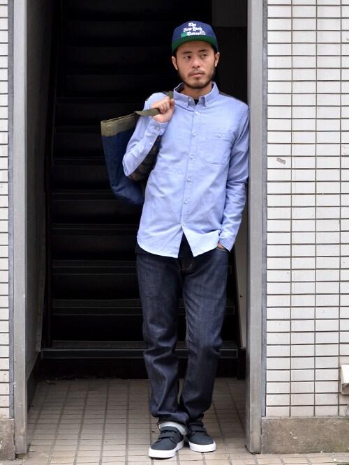 シャツ メンズ 着こなしのシャツ・ブラウス「Lafayette TIGER STRIPE ボタンダウンオックスフォードシャツ」を使ったコーディネート