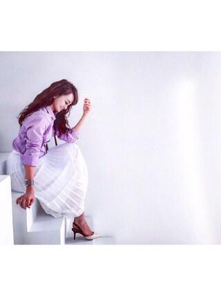 丸林広奈さんの「<MUVEIL(ミュベール)>オーガンジー プリーツ スカート(UNITED ARROWS|ユナイテッドアローズ)」を使ったコーディネート