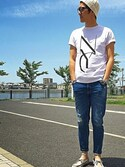 「Saturdays Surf NYC NYC Stencil Printed Cotton-Jersey T-Shirt(Saturdays Surf NYC)」 using this Hi-ro95 looks