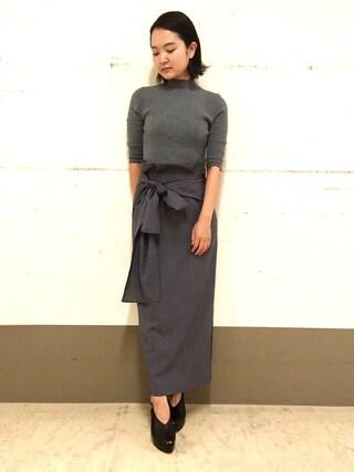FRAY I.D|hiroe kaminogouyaさんの「リボンスカートコンビワンピース(FRAY I.D|フレイ アイディー)」を使ったコーディネート