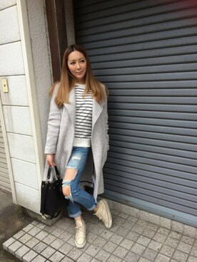 「FOREVER 21 Destroyed Boyfriend Jeans(Forever 21)」 using this わいわい looks