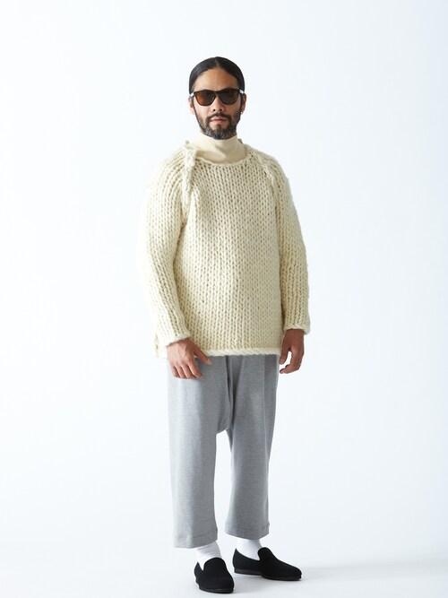 サルエルパンツ着こなしメンズのニット・セーター「サスクワッチ 」を使ったコーディネート
