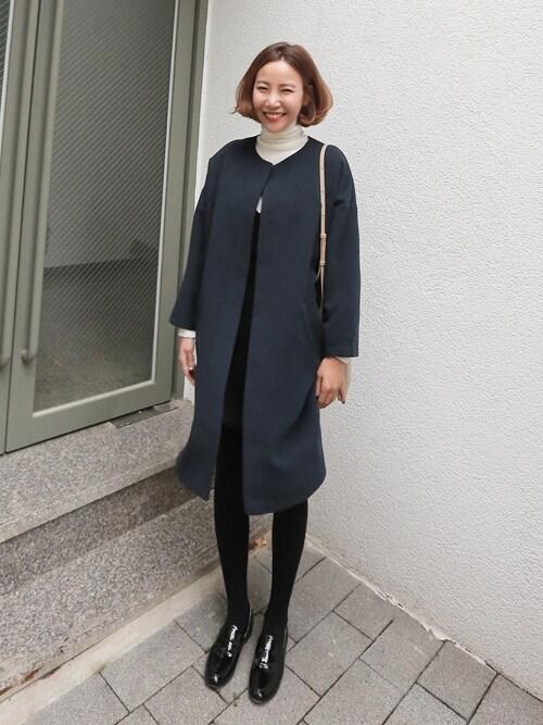 bagazimuriさんの「フロントオープンシンプルノーカラーコート」を使ったコーディネート