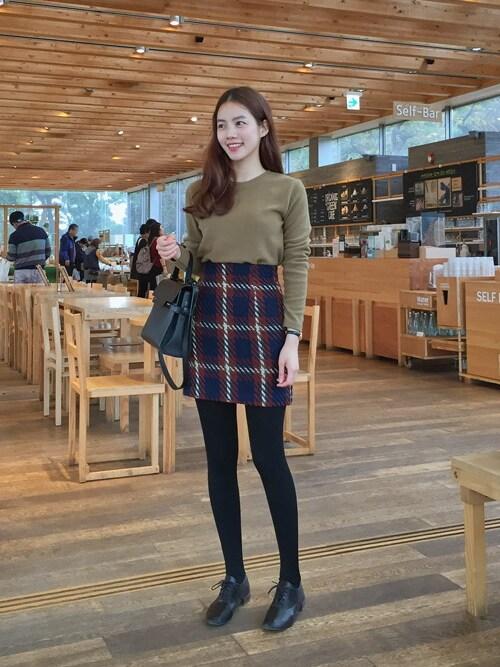 bagazimuriさんの「チェック柄ミニスカート」を使ったコーディネート