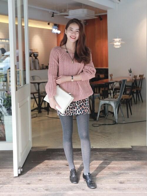 bagazimuriさんの「レオパード柄コーデュロイスカート」を使ったコーディネート