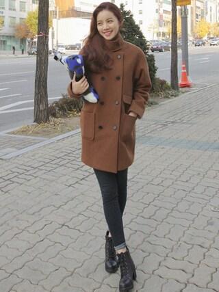 bagazimurijp|bagazimuriさんの「ウール混紡オーバーサイズダブルコート」を使ったコーディネート