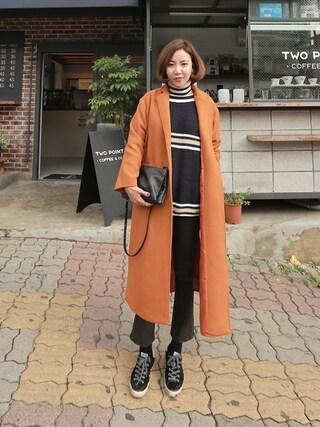 bagazimurijp|bagazimuriさんの「トレンディー裏起毛セミブーツカットパンツ」を使ったコーディネート