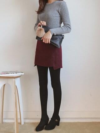 bagazimurijp|bagazimuriさんの「サイド切替Aラインミニスカート」を使ったコーディネート