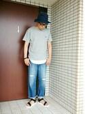 おまっつんさんの「DOORS ミニ裏毛エンブレムPocket Tee(URBAN RESEARCH DOORS MENS|アーバンリサーチ ドアーズ メンズ)」を使ったコーディネート