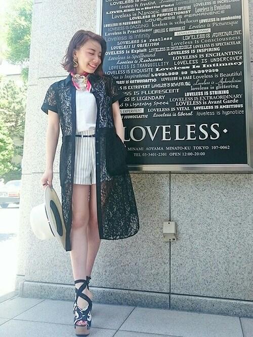 momoさんの「【LOVELESS】WOMENS ブラックレースシャツワンピース(LOVELESS)」を使ったコーディネート