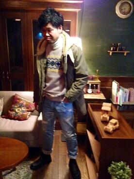 a Takesiさんの「SEVESKIG CONFUSED CREW NECK SWEATER(SEVESKIG)」を使ったコーディネート