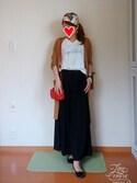 rinnaさんの「梨地カーディガン+ロゴプルオーバー(pink adobe ピンクアドベ)」を使ったコーディネート