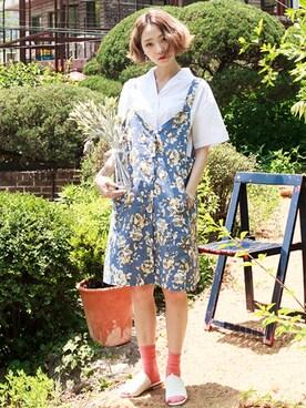 bluepops|bluepopsさんの「クラシカルフラワーサロペットスカート」を使ったコーディネート