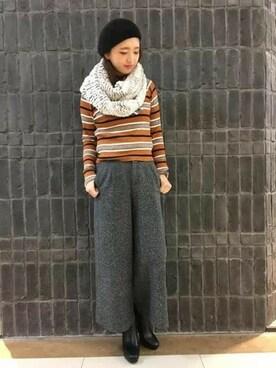 JEANASIS神戸店|hirausagiさんのニット/セーター「12Gマルチボーダーオフプルオーバー/742899 (JEANASIS|ジーナシス)」を使ったコーディネート