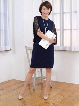 FayMay|Momocoさんの「格子柄ケープドレス【CLAIRE クレア】(FayMay|フェイメイ)」を使ったコーディネート