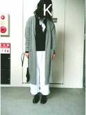 亀子さんの「フラワースカーフ(who's who Chico|フーズフーチコ)」を使ったコーディネート