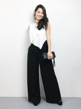 ZOZOTOWN|飯田有衣さんの「【Dress Lab×平子理沙】大人キレイ切り替えオールインワン(DRESS LAB)」を使ったコーディネート