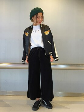 X-girl 大阪|Kanna  Hayashiさんの「SOUVENIR JACKET /サテンジャケット/リバーシブル/スカジャン/無地/刺繍/虎/トラ/ウサギ/ラビット(X-girl)」を使ったコーディネート