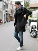 LOUNGELIZARD-OSAKA-さんの「SUPER 100'S 1/8 MELTON Pコート(LOUNGE LIZARD ラウンジリザード)」を使ったコーディネート