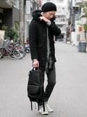 LOUNGELIZARD-OSAKA-さんの「1/7 W CLOTH MELTON モッズコート(LOUNGE LIZARD|ラウンジリザード)」を使ったコーディネート