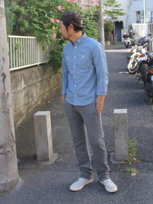 シャツ メンズ 着こなしのシャツ・ブラウス「SABLE CLUTCH リトル ボタンダウン カラー ワークシャツ【国産】」を使ったコーディネート