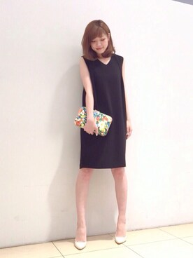 STUDIOUS WOMENS ルミネ新宿2|naaaさんの「TSURU / poeny(チェーン付フラワークラッチバッグ)(TSURU)」を使ったコーディネート