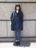 「後開衩設計行動自如不拘束直挺的布料穿搭起來效果更一流由男裝演變出來的雙排釦款式中規中矩的秋冬外套帥氣中融合了氣質讓妳魅力四射的單品就在這裡!(Queen Shop)」 using this Mimi Tsai looks