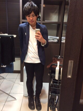 Akiさんの「STUDIOUS  ノッチドラペルテーラード2Bジャケット  MADE IN JAPAN(STUDIOUS ステュディオス)」を使ったコーディネート