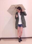 arisa izumiさんの「ボーダー柄晴雨兼用折りたたみ傘(Mila Owen|ミラ オーウェン)」を使ったコーディネート