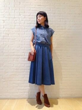 DRESSTERIOR本社 DRESSTERIORプレス Kobayashiさんの「ロープ染色フレンチスリーブシャツ(DRESSTERIOR)」を使ったコーディネート