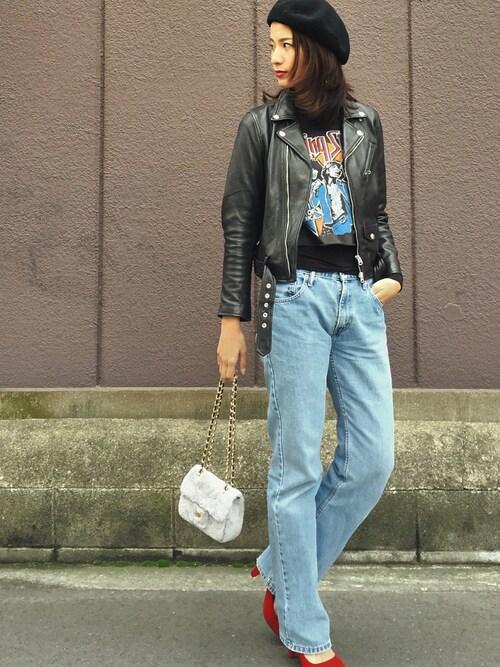 nagiさんの「2wayシープレザーライダースジャケット(FREAK'S STORE)」を使ったコーディネート