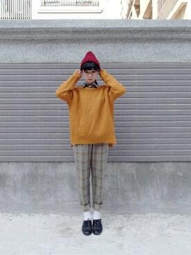 [morningdeer]さんの「薑黃色素面粗織毛衣」を使ったコーディネート