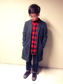 「Burberry Square Optical Frames, Brown(Burberry)」 using this オガ looks
