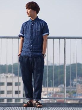 JUNRed 調布パルコ|BABAさんの「フレンチリネンオーバーダイ半袖シャツ(JUNRed)」を使ったコーディネート