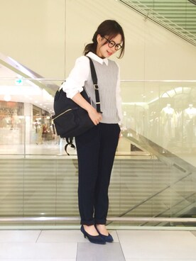 KATHARINE ROSS 難波店|nozomiさんの「【KATHARINE ROSS】VERY4月号掲載 シャツ衿付ケーブルプルオーバー(KATHARINE ROSS)」を使ったコーディネート