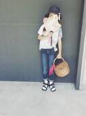hi_niさんの「【X-girl sports】BEACH HAT /スポーツグッズ/フェス/山/キャンプ/ランニング/ジョギング/運動用/普段使い(X-girl|エックスガール)」を使ったコーディネート