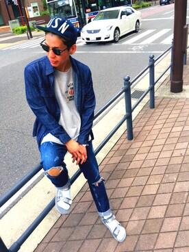 AVIREX  川崎|MAKOTOさんの「avirex/アヴィレックス/メンズ/S/S VARSITY T-SHIRT/半袖 バーシティー Tシャツ(AVIREX)」を使ったコーディネート