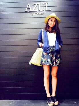 AZULbymoussyイオンモール札幌発寒店 Sayah♡さんの「ペーパー中折れつば広HAT(AZUL by moussy)」を使ったコーディネート