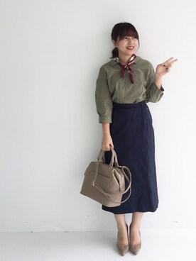 FELISSIMO|ayapiさんの「IEDITレーベルコレクション シックな装いを彩る 繊細クラシカルプリントのシルクスカーフ(IEDIT)」を使ったコーディネート