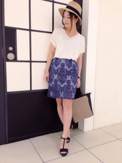 ShimOさんの「オーガンジー刺繍タイトスカート(laboratory work)」を使ったコーディネート