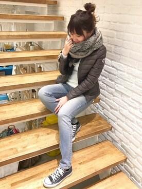 CANALJEAN 神戸店|MAYUMIさんの「Dieu(ディュウ) モヘア風ストライプストール(Dieu)」を使ったコーディネート