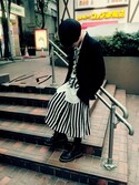 「FOREVER 21+ Plus Size Buttoned Stripe-Print Skirt(Forever 21)」 using this りょーたきゅん (ノ_<)の人 looks