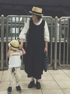 今日はスパイラルでやってる ミナ ペルホネン展覧会『ミナカケル』に家族といってきました。 とっても素敵な空間でした。皆川さんの言葉にも感動しました�� 時間があれば小学生の娘にもみせたいな。 息子はふざけすぎて帽子のゴムがのびのびです>_<