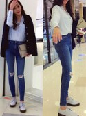 「Topshop Moto 'Jamie' Ripped Ankle Jeans (Mid Denim) (Regular & Short)(Topshop)」 using this yuying950 looks