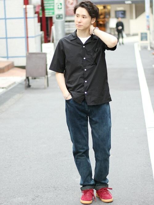KIMさんの「◇80/1 タイプライター オープンカラーシャツ(417 EDIFICE)」を使ったコーディネート