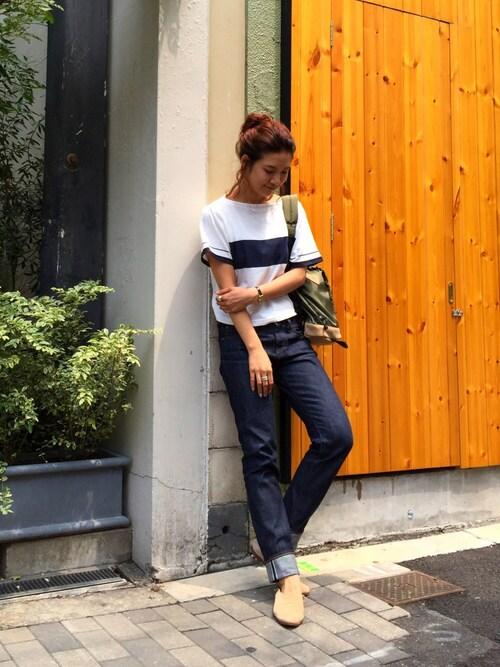 SAAYA KOUZAWAさんの「ショートラインTシャツ(TODAYFUL)」を使ったコーディネート