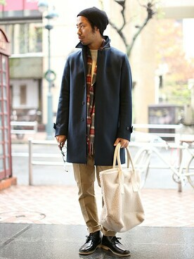 And A 渋谷店|Kameさんの「|MELTON SOUTIEN COLLAR COAT(And A)」を使ったコーディネート